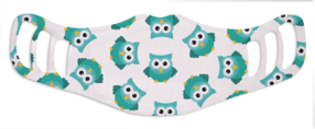 Kids Blue Owl - White Face Mask